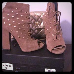 Giuseppe Zanotti Suede Gold Stud Lace Up Heels!